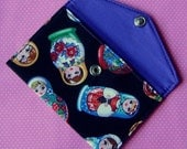 Change purse or business cards holder in rare russian doll fabric