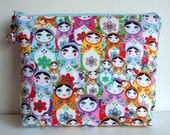 Large toiletry bag or cosmetic make up bag in rare russian doll fabric