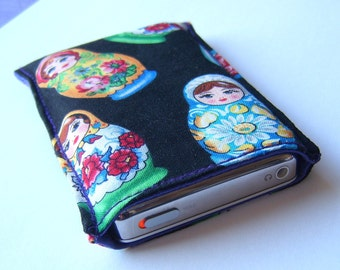 Case for Ipod classic in rare russian doll fabric cozy sleeve