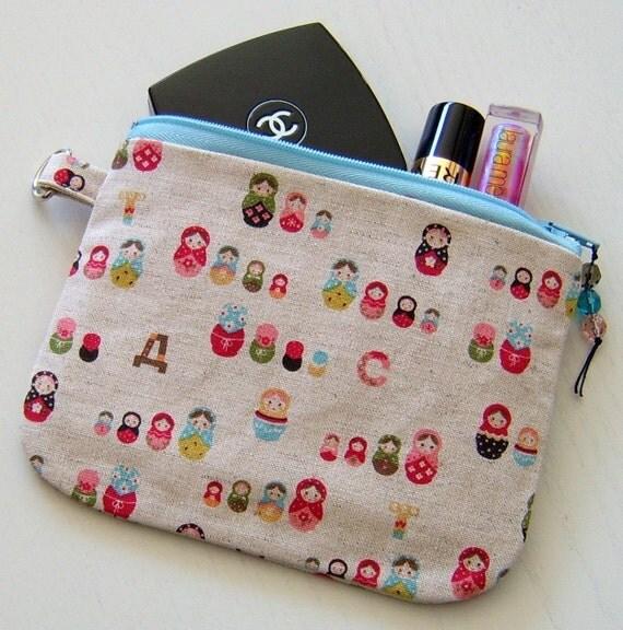 Babushka russian dolls purse zipper pouch makeup cosmetic bag