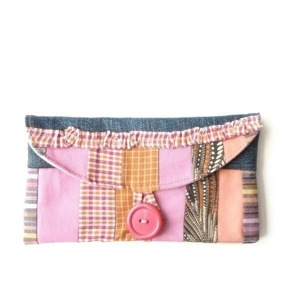 Checkbook Holder - Coupon Wallet  - Ruffle Patchwork Coupon Pouch