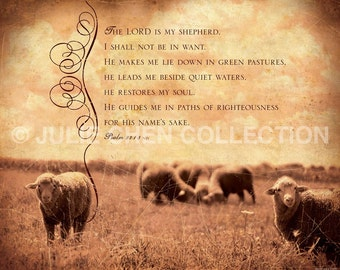 Scripture Art - Inspirational Art - Bible Verse - Christian Art - The LORD is my SHEPHERD - Psalm 23 Art - Christian Home Decor - Encourage