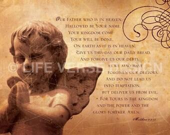 The Lords Prayer - Scripture Wall Art - Inspirational Art - Bible Verse - Christian Art - Catholic Gift - Prayer - Angel Image - Matthew 6