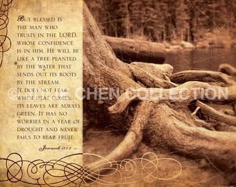 Scripture Art - Inspirational Artwork - Bible Verse - Religious Gift - Motivational Quote - Christian Art - LIKE A TREE - Jeremiah 17