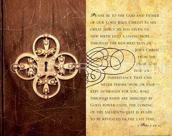 Christian Gift - Scripture Wall Art - Inspirational Wall Art - Bible Verse Art - Christian Art - Encouragement Art - LIVING HOPE - 1 Peter 1