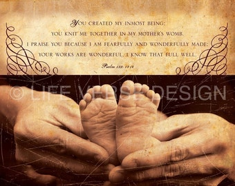 Baptism Gift - Christening Gift - Religious Baby Gift - Christian Baby Gift - Religious Nursery Decor - Nursery Art - CREATED - Psalm 139