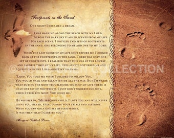 FOOTPRINTS POEM - Christian Gift - Religious Home Decor - Spiritual Encouragement - Beach House Decor - Inspirational Wall Art - Poetry