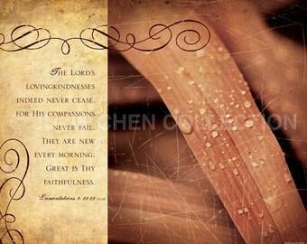 Christian Gift - Hymn - Scripture Art - Inspirational Art - Bible Verse Art - Christian Art - GREAT is Thy FAITHFULNESS - Lamentations 3