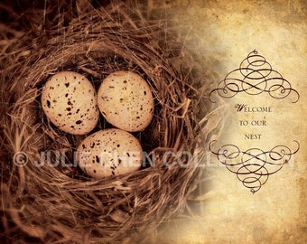 WELCOME To Our Nest - Vintage Style Home Decor - Housewarming Gift - Inspirational Art - Birds Nest Photo - Inspirational Quote