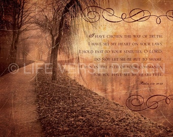 Christian Gift - Psalms Art - Scripture Wall Art - Inspirational Artwork - Bible Verse Art - Christian Art - PATH OF FREEDOM - Psalm 119 Art