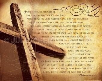 Easter Art - Easter Decor - Cross Photo - Bible Verse - Scripture Art - Inspirational Art - Christian Art - BE LIKE CHRIST - Philippians 2