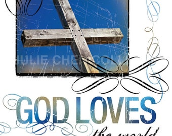 Scripture Wall Art - Inspirational Art - Bible Verse - Christian Art - Christian Gift - John 3:16 Art - Religious Gift - GOD LOVES the World
