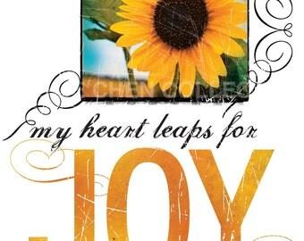 Inspirational Wall Art - Christian Gift - Christian Art - Inspirational Quote - Motivational Saying - Word Art - My Heart Leaps for JOY