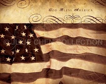 God Bless America - Patriotic Art - 4th of July Artwork - Patriotic Quote - Flag