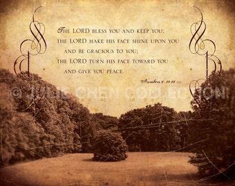 Scripture Wall Art - Inspirational Art - Bible Verse Art - Christian Art Gift - Christian Wedding Gift - The Lord Bless You - Numbers 6