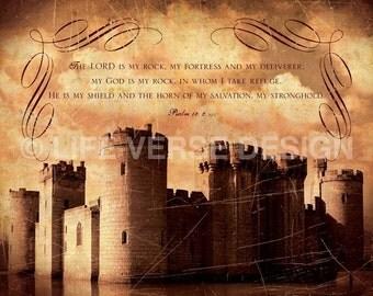 Scripture Art - Inspirational Art - Bible Verse Art - Christian Art - Religious Gift - Encouragement - Quote Print - MY FORTRESS - Psalm 18
