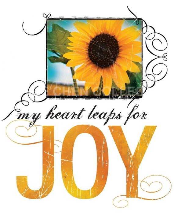 Inspirational Wall Art - Christian Gift - Christian Art - Inspirational Quote - Motivational Saying - Word Art - My Heart Leaps for JOY