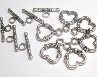 Silver Pewter Heart Clasps Lead Free - Five Complete Sets