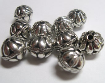 Large Round (10mm) Bali Style Silver Pewter Spacers - Lead Free - 8 pieces
