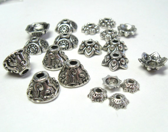 Sample Mix of Fine Silver Plated Antiqued Pewter Bead Caps - Lead Free - 20 pieces