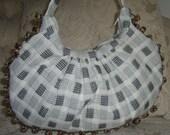 Black and White Hobo Handbag, Purse, Pouch with dainty Pom- Pom trim.