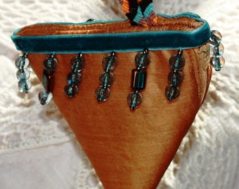 Pure Silk Beaded Pyramid Purse Pouch Wristlet with Micro Macrame  Loop. Golden and Turquoise