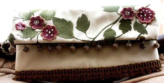 Cream Embroidered and Appliqued Clutch, Purse, Bag, Wristlet, Pouch