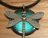 SALE Dragonfly Pendant Copper Enamel Water Blue Handmade Necklace