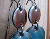 Enamel Chandelier Earrings, Drop Earrings, Dangle Earrings, Brown and Blue Enamel on Copper, Nickel Free Kidney Ear Wire
