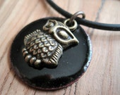 Owl on Black Copper Enamel pendant necklace