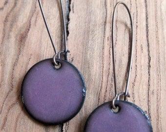 Aubergine Purple enamel earrings copper nickel free kidney earwire