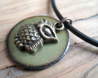 Owl on Olive Green Copper Enamel pendant necklace