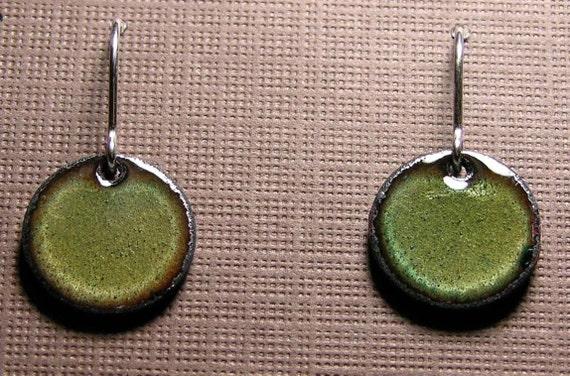 Olive Copper Enamel Earrings