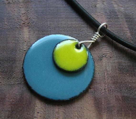 The Prairie...Apple on Delft...Copper Enamel necklace