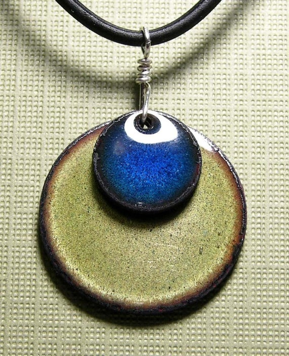 Double Copper Enamel Water Blue on Olive Rubber necklace Prairie Collection