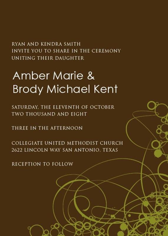 Wedding Invitation Amber - Sample Available