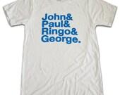 BEATLES john paul ringo george names T-shirt L