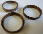 Vintage Round Settings, 1930s-40s Aged Brass Serrated Sawtooth Open Back Bezels, Unplated Jewelry Findings Supplies, 25mm, 4 pcs. (C19)