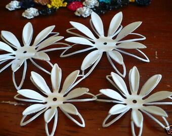 Vintage White Enameled  Flower