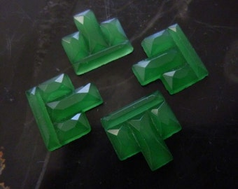 4 DECO Green City Scape Ridged Cabochons C18