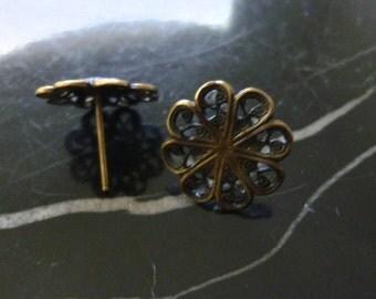 4 Sets Antiqued Brass Earring Posts C19 B