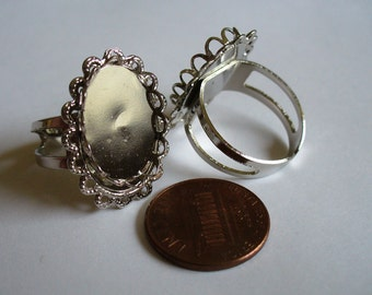 2 Silver Tone Lace Setting Rings C9