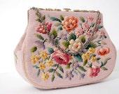 RESERVED Vintage 1940s Ann Margaret Floral Tapestry Kelly Bag / Powder Pink