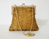 1960s Handbag / Vintage Evening Purse / Gold Handbag