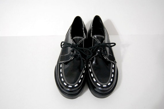 Vintage CREEPER SHOES Black and White by Esprit