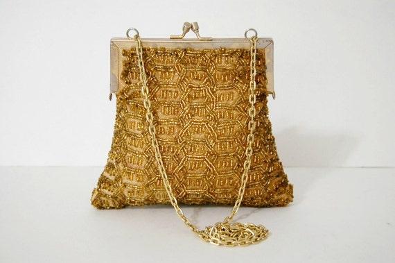 1960s Handbag / Vintage Evening Purse / Gold Handbag
