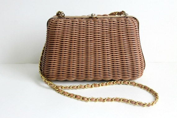 1950s Handbag / Vintage Wicker Handbag / Brown Handbag