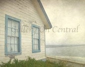 Beach House -  5x5 original photo  - ocean, sea, fog, gray, shabby chic - galleryoncentral