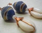 Wire Wrapped Krobo African Trade Bead Earrings - was 12.00