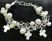 Pearl, Shell & Swarovski Crystal Cross Wire Crochet Bracelet